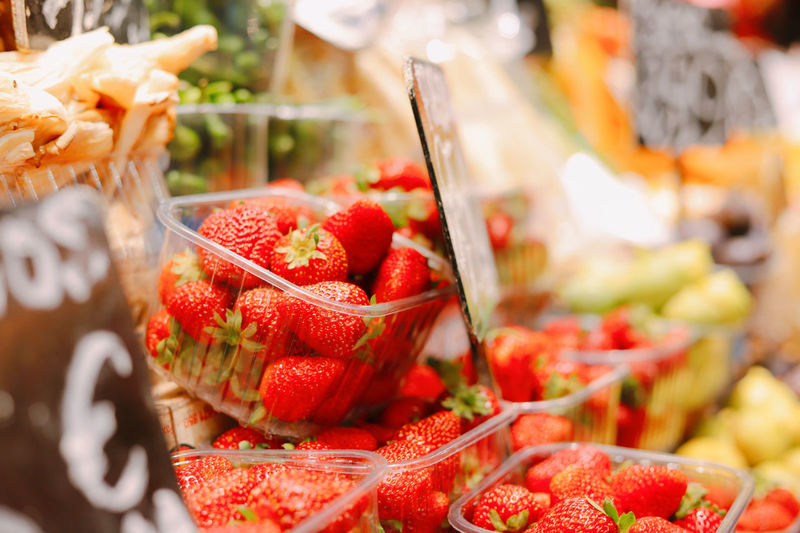 Close-up of chopped fruits for sale at market stall