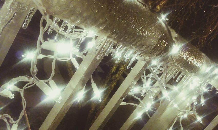 1.22.16 7:16p.m. Winter Snow Ice Icecicles Christmas Lights Night Lights Night Photography Winter 2016 Raleigh Northcarolina CeBPhotography