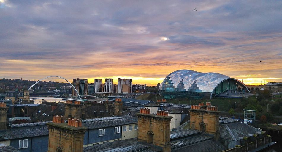 River Tyne, Architecture Building Exterior Built Structure City Cityscape Cloud - Sky Day Mountain No People Outdoors Sky Sunset