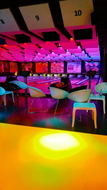 Bowling Bowling Time Chair Multi Colored Yeloow Pink Color Abstract Textured  Full Frame Abstract Photography Table Indoors  Nightlife Arts Culture And Entertainment Illuminated Nightclub Music Bar - Drink Establishment Fun Celebration Party - Social Event