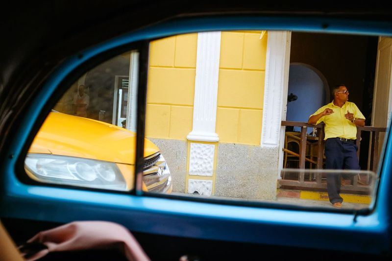 Cuba Taxi Cuba Real People Window Yellow One Person Indoors  Day Human Hand People