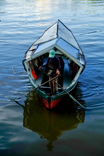Nautical Vessel Reflection Sarawak Waterfront Transportation Water Waterfront The Traveler - 2018 EyeEm Awards The Great Outdoors - 2018 EyeEm Awards Calm Wake - Water Rippled Mode Of Transport Sailing Boat Vehicle Moving Boat Rowboat Water Vehicle Floating On Water This Is Strength