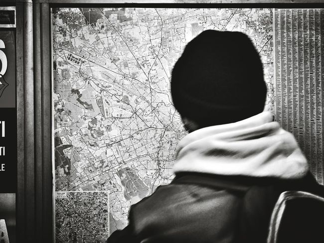 A man who's reading the underground map on the wall. Milano Real People One Person Day People Rear View Men Travel Young Adult Metro Metro Photo My Year My View Streetphotography 24mm Blackandwhitephotography Indoors  Crowd Adult Travelling Undergroundphotography
