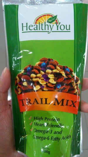Healthy food? Grab a Trail Mix. Nuts Chocolate Almonds Raisins Nips Cashews Healthy You