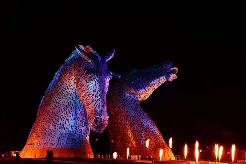 EyeEm Selects Kelpies  Kelpies Of Falkirk Falkirk Night Opening Ceremony Flames Horse Head Metal Scotland