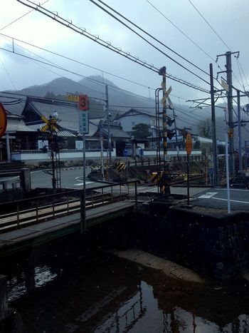 In snowy weather Railroad Track Track Snow White ASIA Japan Cable Power Line  Railroad Track Power Supply Connection