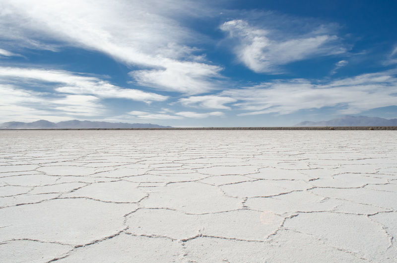 Idyllic shot of salt lake desert at salinas grandes against sky