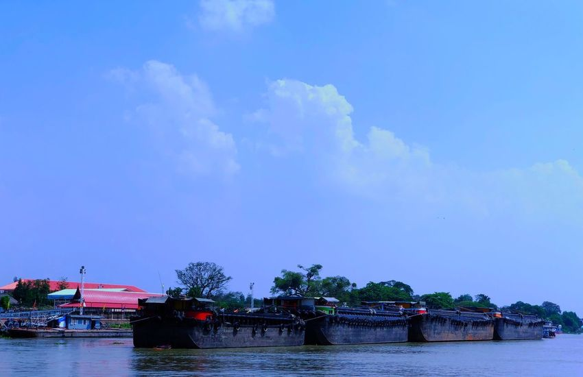 Barge Nautical Vessel Water Transportation Mode Of Transport River Waterfront Boat Sky Day Outdoors Nature Cloud - Sky No People