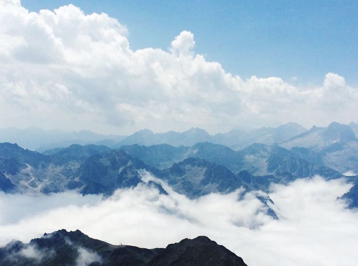 Mountain Nature Sky Beauty In Nature Cloud - Sky Scenics Tranquility Tranquil Scene Outdoors Mountain Range No People Day Landscape Range My Cloud Obsession☁️ Pyrenees France Breathing Space The Week On EyeEm Been There.