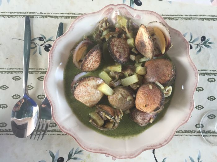 Steamed clams with pork belly and herb cream. Dinner Seafood Bowl Clams Close-up Day Directly Above Food Food And Drink French French Food Freshness Healthy Eating High Angle View Indoors  No People Plate Ready-to-eat Still Life Table