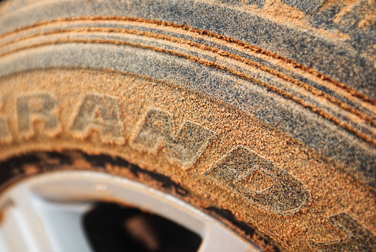 High angle view of car tire