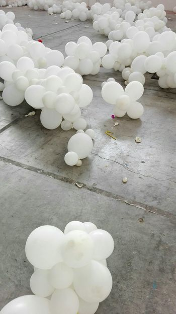 No People Indoors  Balloons Afterparty Remains Blown Up White Concrete Floor Rave Party Dirt Dirty