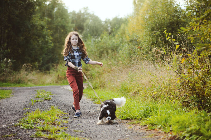 Full length of girl walking with dog on dirt road