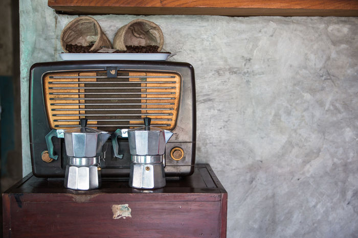 Cafe Close-up Coffee Day Decoration Indoors  Mokapot No People Old-fashioned Radio Retro Styled Technology