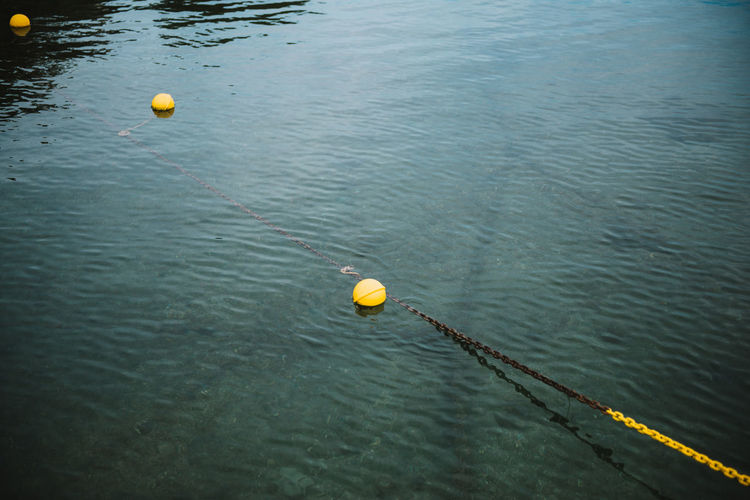 High angle view of ball in water
