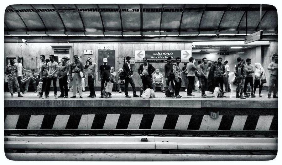 Tehran Tehran Metro Metro Subway Underground Train Iran Men Real People City Outdoors Crowd Large Group Of People تهران مترو مترو_تهران Urban Darvazeh Dowlat Staition Metro Station Metro Life عکاسی Black And White عکاسی_موبایل