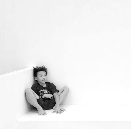 My boy. White Background Sitting Black And White Photography First Eyeem Photo EyeEm Gallery OpenEdit EyeEm Best Shots Monochrome Black & White Blackandwhite Photography Black And White Portrait Childhood Boy Kids