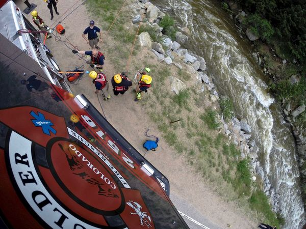 Fire Fire Rescue Firefighter Go High Angle View Ladder Landscape People Rescue Rescuedog Swimming Water Rescue