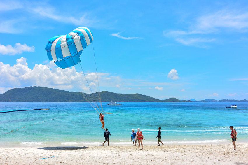 Beach Coastline Coral Island,Thailand Enjoyment Fun Kho Hey Leisure Activity Lifestyles Parasailing Phuket Shore Sport Thailand Tourism Tourist Vacations Weekend Activities