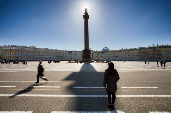 Palace Square Russia Saint Petersburg Architectural Column Architecture Backlight And Shadows Clear Sky Day Outdoors Sky Street Travel Travel Destinations
