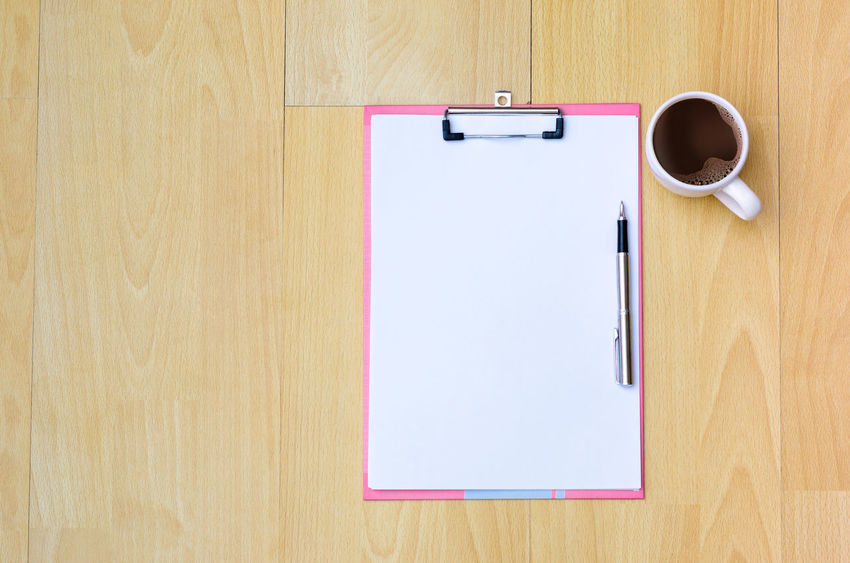 Note Page Close-up Coffee - Drink Coffee Cup Day Desk Diary Directly Above Indoors  No People Note Paper Note Papers Office Paper Paper Clip Pen Reminder Table To Do List Wood - Material