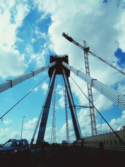 Building a bridge Agigea Constanta Romania Low Angle View Sky Cloud Development Built Structure Cloud - Sky Tall - High Iron - Metal Outdoors Blue Engineering Construction Progress Traveling Tourist Iron Infrastructure Highway Architecture
