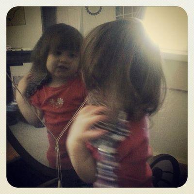 Pretty girl. Has mamas brush stuck in her hair