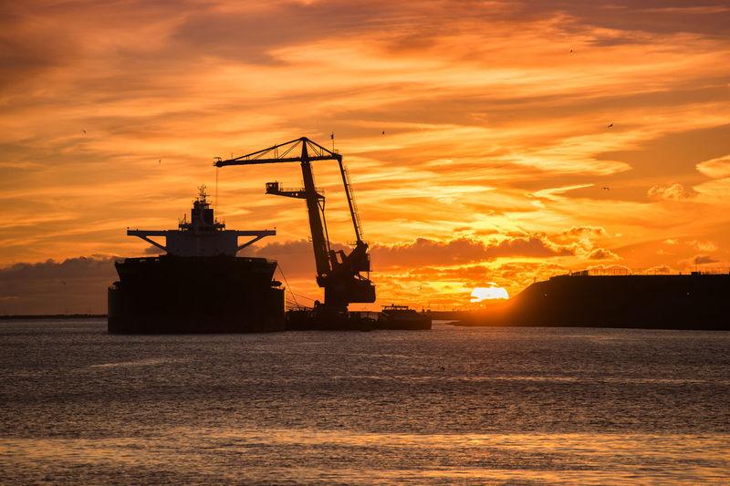 Industrial Industrial Landscapes Industry Outdoors Ijmuiden Aan Zee Nederland Boat Sunset Nautical Vessel IJmuiden Sea Loadingbay Loading Dock Loading