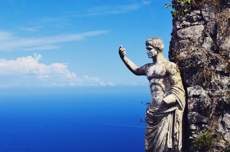Lovely Italy 🇮🇹 Art And Craft Statue Sky Sculpture Human Representation Craft Cloud - Sky Day Outdoors No People Low Angle View Nature Horizon Over Water Beauty In Nature Italy Capri Sunny Holiday EyeEmNewHere