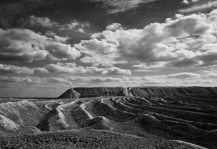 B/w Landscape Mountain Non Urban Scene Saxony Anhalt Clouds Road Way wasteland Wasteland Germany Mountains Lonely Silence Mining Barren Dump Width Ricoh Gr