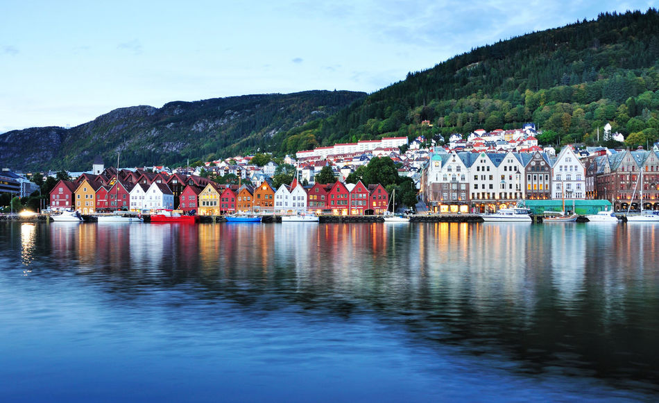 Bergen, Norway. Architecture Beauty In Nature Bergen Building Exterior Built Structure Day Harbor Mode Of Transport Moored Mountain Multi Colored Nature Nautical Vessel North Europe Norway Outdoors Reflection Scenics Sky Skyline Tranquility Transportation Tree Water Waterfront