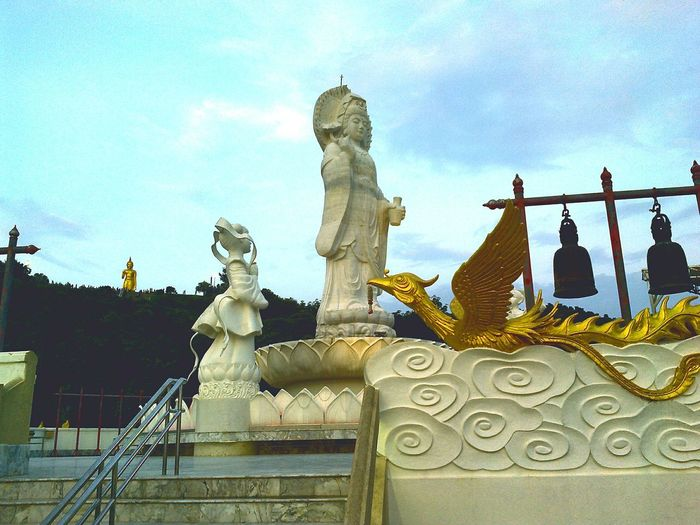 Religion Statue Human Representation Sky Cloud - Sky No People Spirituality Place Of Worship Sculpture Outdoors Day Thailand Mountain Moment