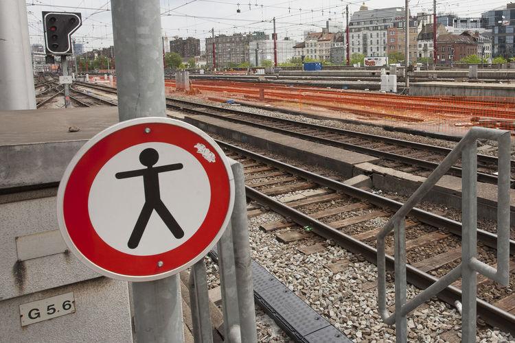Passage Forbidden Guidance Information Interdiction Metal Perspective Railroad Track Railway Track Sign Vanishing Point