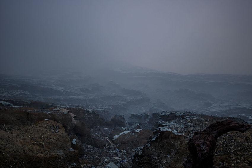 INDONESIA Java Sulfur Gas Fog Hostile Environment Ijen Crater Landscape Mountain Nature Power In Nature Scenics