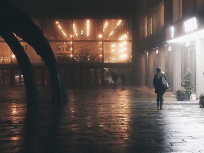 Illuminated lights in corridor