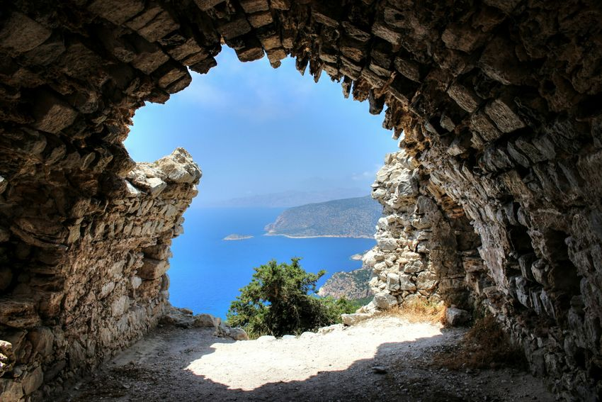 Taking Photos Traveling Photography Monolithos Greece Rhodos Castle High Monument Travel