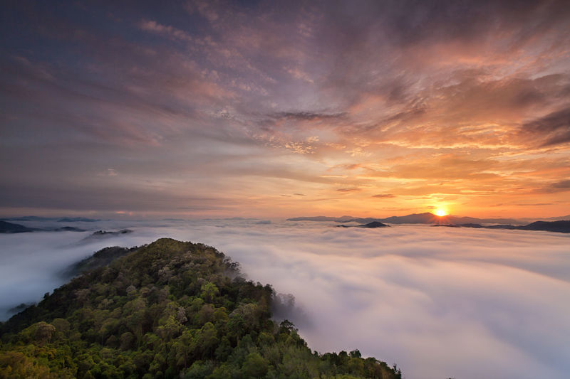 Mist Thailand Beauty In Nature Betong Thailand Cloud - Sky Day Nature No People Outdoors Scenics Sky Sunset Tranquil Scene Tranquility Tree Water