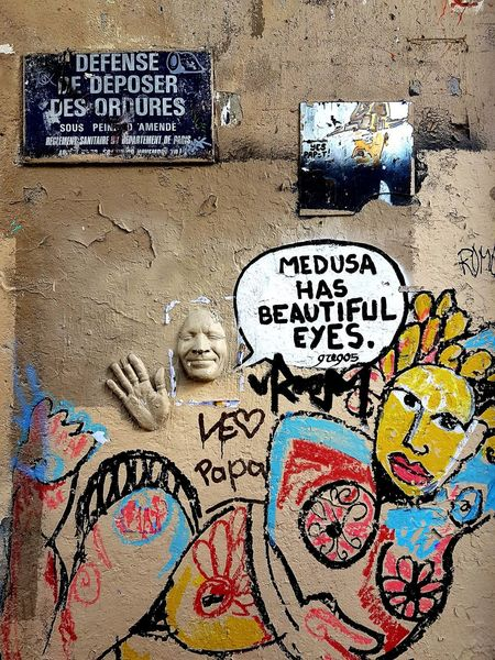 Multi Colored Graffiti Text Communication Full Frame Backgrounds Day No People Textured  Close-up Outdoors Paris, France  Montmartre Abbesses Been There.