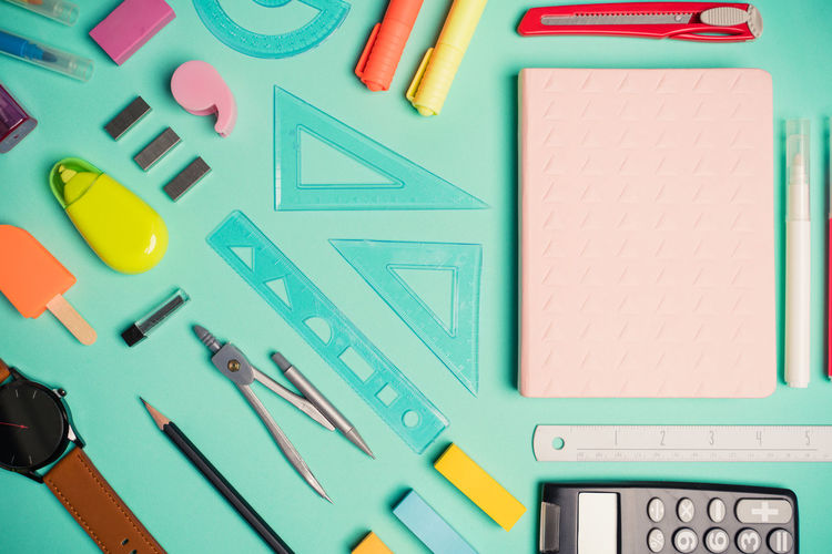 Directly above shot of school supplies on table