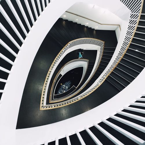 Abstract overhead shot of building staircase