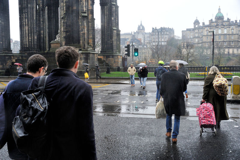 Crossing Princes Street, Edinburgh Group Of People City Wet Rain City Life Day Edinburgh Scotland Travel Walking Outdoors Rear View Weather Road Princes Street
