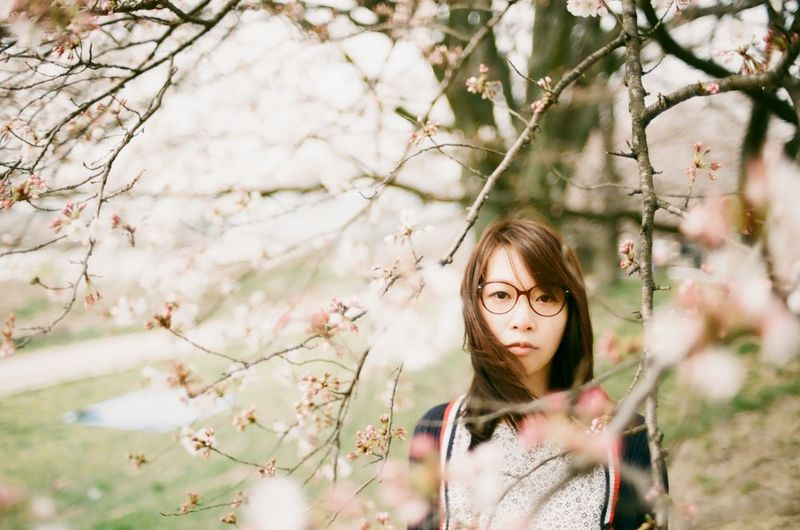 Portrait Of Woman Standing By Cherry Tree In Park