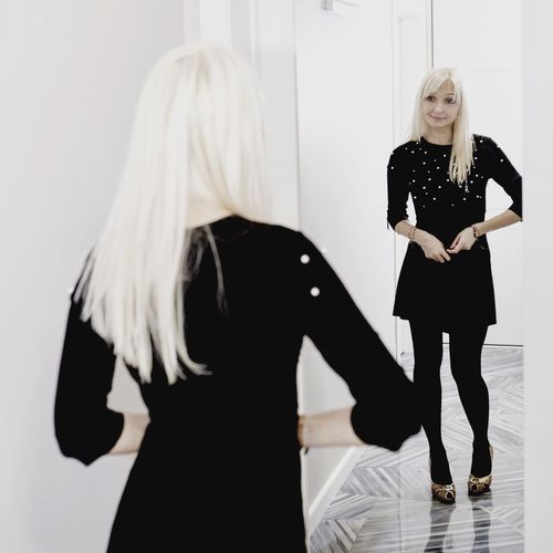 Be. Ready. Blond Hair Standing Real People Fashion Two People Black Color Long Hair Indoors  Full Length Young Women Portrait Looking At Camera Young Adult Women Lifestyles Beautiful Woman Day Adult Adults Only People Party Season Preparation  Love Yourself