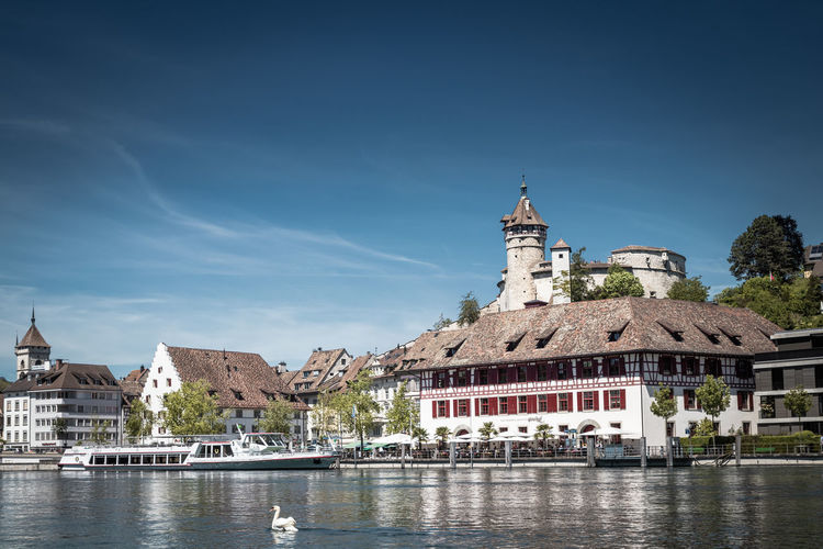 View on rhine river and famous munot fortifiction. schaffhausen, switzerland.