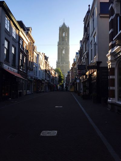 Built Structure Utrecht , Netherlands Utrecht Dom Toren Dom Tower Architecture Building Exterior The Way Forward City Road Street Clear Sky Empty Long Diminishing Perspective City Street Tall - High Outdoors Sky Skyscraper City Life Narrow Day Tall Building First Eyeem Photo