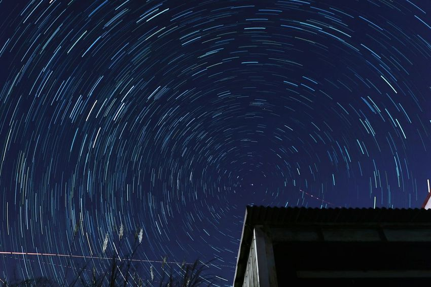 Astronomy Star Field Star - Space Space Star Trail Sky No People Low Angle View Night Long Exposure Motion Galaxy Constellation Beauty In Nature Outdoors Milky Way 星空 北極星 カシオペア Polaris ポラリス