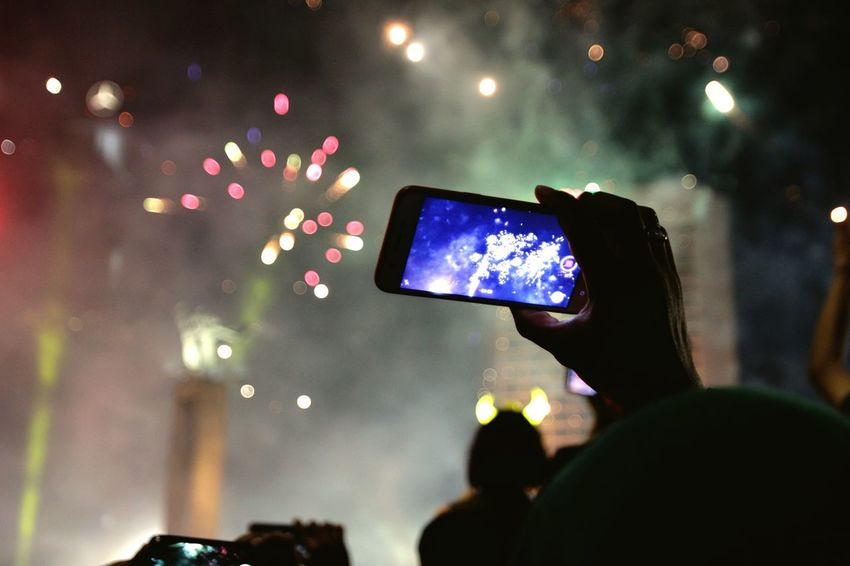 selfie Portable Information Device Smart Phone Wireless Technology Mobile Phone Photographing Crowd Communication Photography Themes Popular Music Concert Arts Culture And Entertainment Audience Illuminated Night People