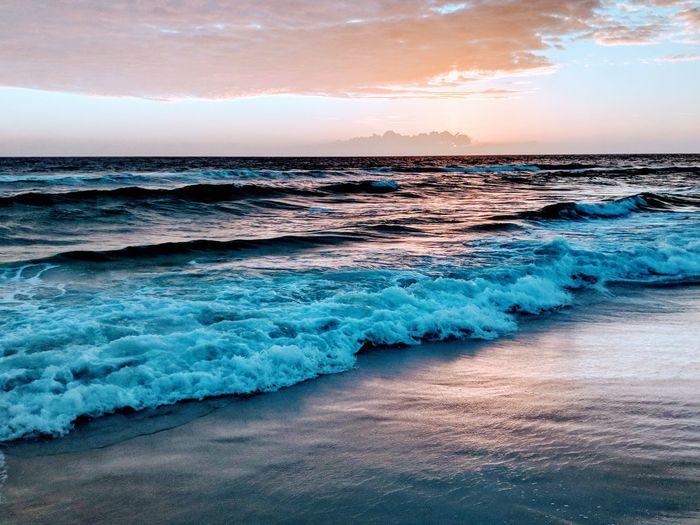 Water Wave Sea Sunset Beach Sand Blue Red Sky Horizon Over Water Tide Coastline Surf Shore Sandy Beach Seascape Coast Low Tide Ocean Calm