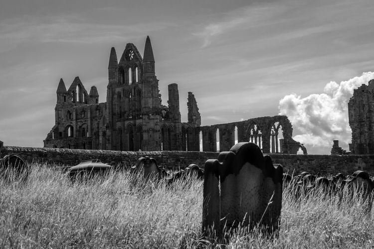 Abbey Abbey Ruins Ruins Whitby Abbey Architecture Blackandwhite Building Exterior Built Structure Cloud - Sky Day Grass Gravestone History Nature Outdoors People Place Of Worship Religion Sky Spirituality