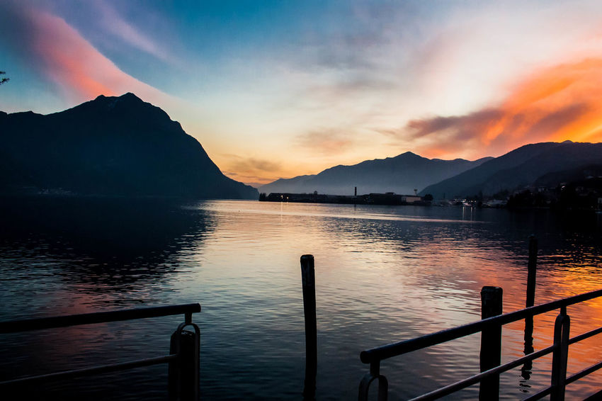 Beauty In Nature Day Iseo Lake Lake Langbart Lovere Lovere Lake Mountain Mountain Range Nature Nautical Vessel No People Outdoors Railing Scenics Sky Sunset Tranquil Scene Tranquility Water